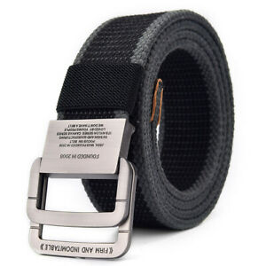Mens Canvas Trouser Jeans Belts Nylon Webbing Belt Double Loop Buckle  US Stock