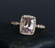 3Ct Cushion Pink Morganite Simulant Diamond Halo Engagement Ring Silver Rose Fns