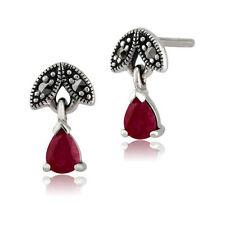 Pendientes de joyería con gemas rojo de plata de ley rubí