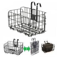 Cycling Detachable Bike Bicycle Front Rear Basket Foldable Storage Basket Black
