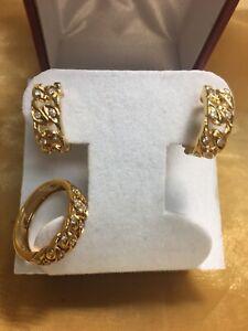 18k Yellow Gold Diamond Omega Clíp Earrings & Ring Set