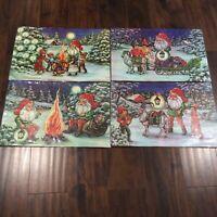 Vintage Christmas Placemats Santa Gnomes Scandinavian 4 Set Plastic