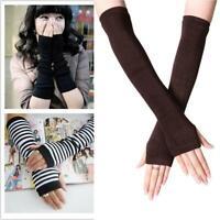 Autumn Striped Knitted Fingerless Thumb Gloves Arm Womens Warmer Mittens X1N7