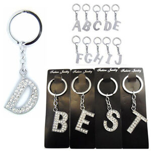 A-Z Alphabet Keyring Initial Letter Key Ring Shiny Crystal Silver Key Chain Tag