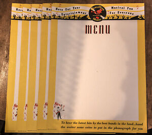 5 Original 1946 Wurlitzer Table Menu Sheets for 1015 & others