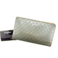 Chanel Wallet Purse Long Wallet Silver Gold Woman Authentic Used Y4920