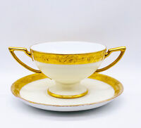 Vtg Favorite Bavaria Signed Gold Gilded D Handled Pedestal Boullion Cup & Saucer