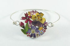 925 sterling silver small bracelet real flowers large round design 6 1/4""