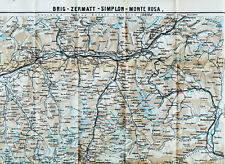 CH Brig Zermatt Simplon 1925 orig. Landkarte + Reisef. (17 S.) Matterhorn Visp