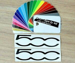 2x Fiat 500 Car Side Mirror Stickers Vinyl Decals Adhesive Window Bumper BLACK