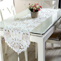 White Embroidery Table Runner Dining Table Mat Wedding Party Home Decor Floral