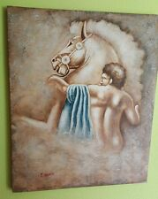 "PAINTED SCREEN TO OLEO ""HERCULES"" 52X61 CM SIGNED BY PAINTER"