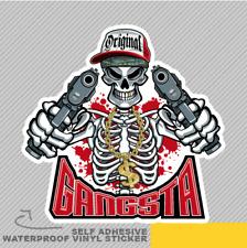 Gangster esqueleto apuntando armas Vinilo Pegatina Calcomanía ventana de coche furgoneta bicicleta 2644