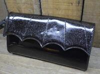 BAT WING WRISTLET CLUTCH PURSE BLACK VTG ROCKABILLY VLV GOTH HOT ROD PUNK ROCK