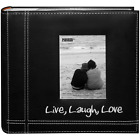 "Photo Album Pioneer 200 Photos 4""x6"" Embroidered Sewn Leatherette Cover Black ."