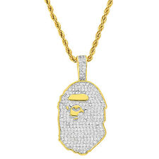 Custom Iced Out Ape Pendnat 18k Gold Plate Simulated Diamonds 24 Inch Chain 2mm