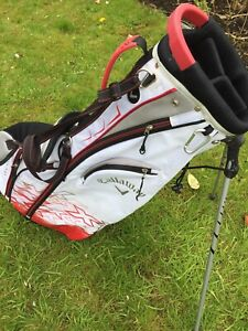 Callaway V Stand Golf Bag White Red Silver Inc Hood Very Good Condition