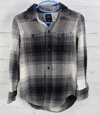 Gap Kids Buffalo Plaid Flannel Shirt - 100% Cotton boys size XS 4-5 Black/Gray