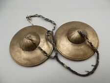Antique Tibetan White Bronze Tingsha Cymbal Buddhist Engraved Dragon Nepal