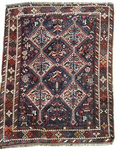 Oriental Carpet fine old handmade  wool Qashqai rug in dark blue 5 x 3.8 FT