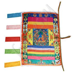 Tibetan Style Buddhism Flag Silk Wind Horse Tibetan Medicine Buddha Prayer Flag