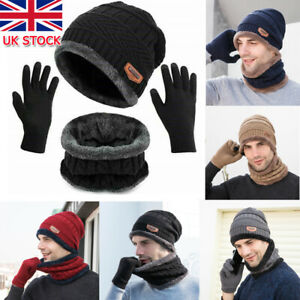 3pcs Set Mens Girl Beanie Hat And Neck Scarf Knitted Gloves Set Winter Warmer