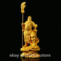 "6.3"" Chinese Box-wood Hand-Carved Dragon Warrior God Guan Gong Yu GuanYu Statue"
