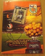 2004 Orange Bowl Program Signed Jarrett Payton Mvp Miami Huricanes Proof Rc Card