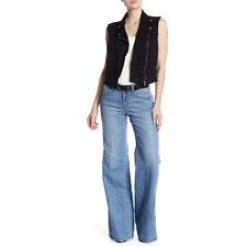 Level 99 Tyler Twisted Wide Leg Linen Blend Jeans High Waist NWT Size 28 Blue