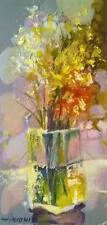 Flowers Still Life Original Oil On Cardboard by Sergej Hahonin 25x12 cm