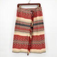 Vtg Cambridge Dry Goods Womens Aztex Southwest Blanket Print Skirt Fringe Sz 6