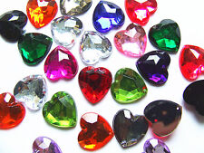 80 Mixed 16 mm Love Heart Beads Acrylic Rhinestone Gems Faceted Flatback Sew on