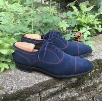 Handmade Men's Blue Suede Dress Formal Shoes