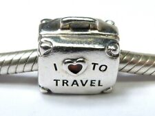 RARE PANDORA SILVER CHARM 925 ALE I LOVE TO TRAVEL SUITCASE BEAD LIMITED EDITION
