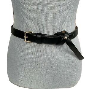 ANN TAYLOR Sz M Black Genuine Solid Leather Belt Twist Wrap Knot Stud Accent