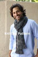 (864) Man's Scarf Copy Knitting Pattern, Easy Knit Design in Aran yarn