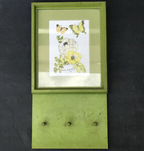 Vintage Flower Butterfly Wood Key Rack Holder Wall Mount with Hooks Antique