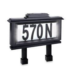 Solar Illuminated Lighted House Number Address Plaque Outdoor LED Light Sign New