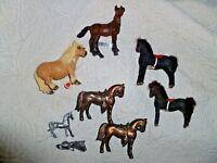 8 LOT  Vtg Flocked Mini Horse Figure Kunstlerschutz W Germany, Pewter, Schleich