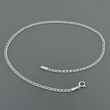 """14K WHITE GOLD 2.0MM DOUBLE CURB LINK 10"""" ANKLET FREE SHIPPING"""