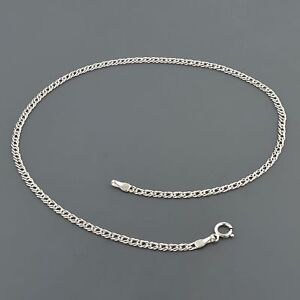 "14K WHITE GOLD 2.0MM DOUBLE CURB LINK 10"" ANKLET FREE SHIPPING"