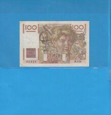100 Francs JEUNE PAYSAN  Alphabet M.554 du 6-8-1953 Variété Filigrane inversé
