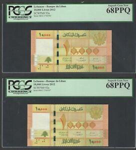 Lebanon 2 Notes 10000 Lira 2012 P92a Uncirculated Grade 68
