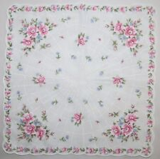 Vtg Hankie Handkerchief ~ Pink and White Flowers with Radiating Pattern