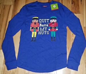 Mens Holiday Christmas Long Sleeve Shirt Nutcracker Funny New NWT Medium M