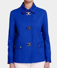 NWT Jones New York Signature February Seaport Blue Gold Clip Coat Jacket L $169