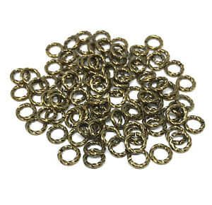 twisted antiqued gold plated brass open jump rings 6mm 16 gauge