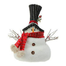 """10"""" White and Black Snowmen with Red Scarf by RAZ CHRISTMAS DECOR NEW 3603478"""