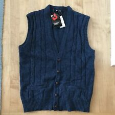 Deadstock Robert Bruce Cardigan Cable Sweater Vest Wool Poly Blend