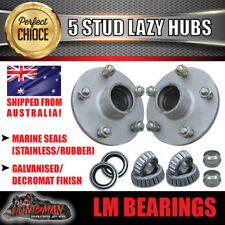 X2 galvanised Boat Trailer hubs suit HT Holden 5/108 PCD & LM Holden bearings